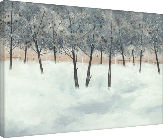 Stuart Roy - Silver Trees on White Billede på lærred