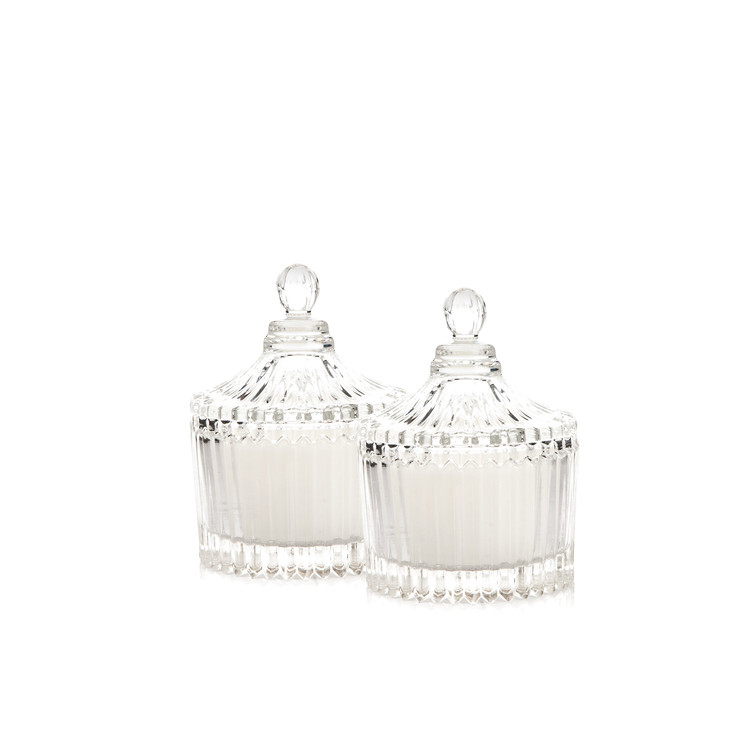 Candle with Lid - Vanilla, White 9 cm, set of 2 pcs Lakberendezés