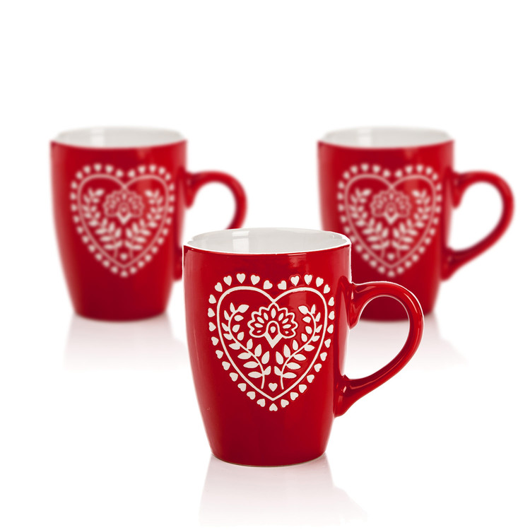 Mug Red-White Heart 300 ml, set of 3 pcs Lakberendezés