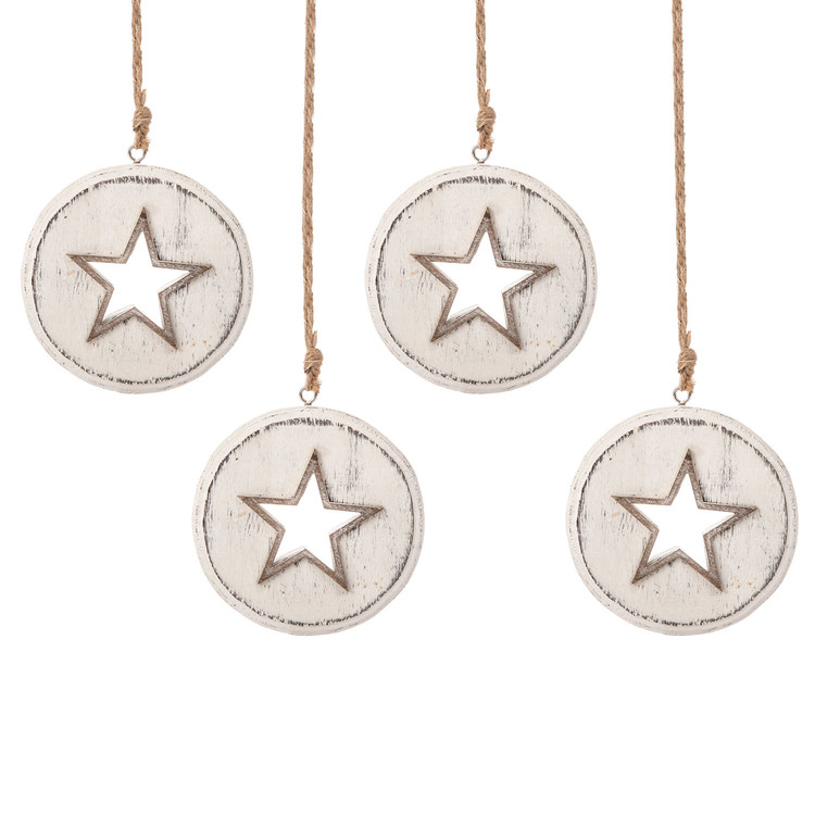 Wooden Christmas Decoration Star White, 8 cm, set of 4 pcs Lakberendezés