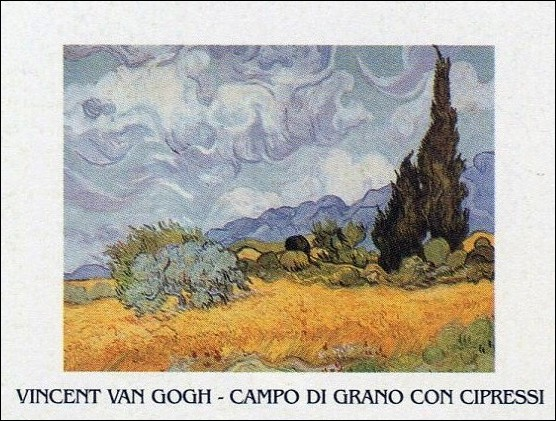 Reproducción de arte A Wheatfield with Cypresses, 1889