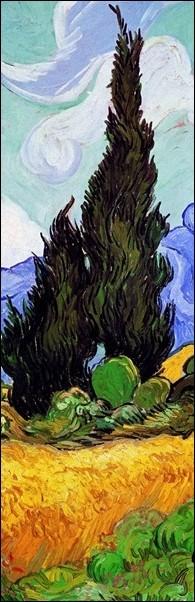 Reproducción de arte  A Wheatfield with Cypresses, 1889 (part.)