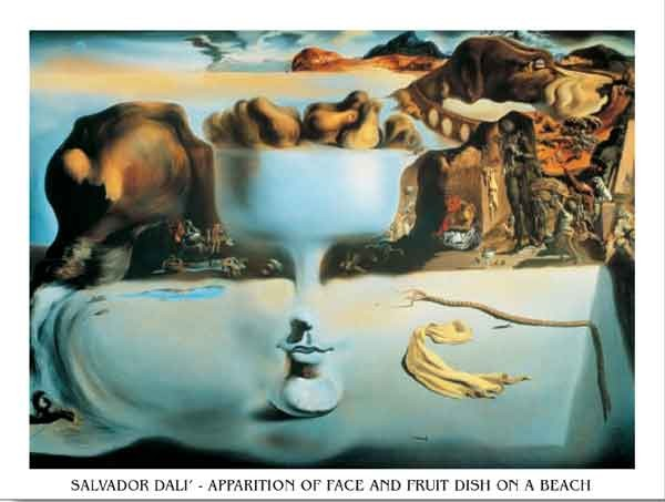 Reproducción de arte  Apparition of Face and Fruit Dish on a Beach, 1938