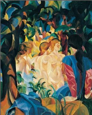 Reproducción de arte  Bathing girls with town in the backgraund