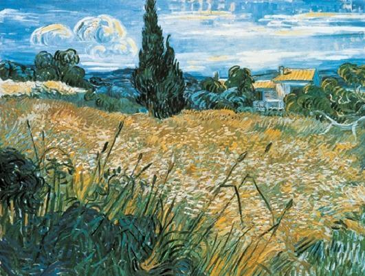 Reproducción de arte Green Wheat Field with Cypress, 1889