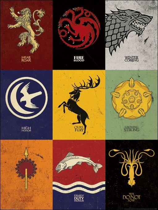 Reproducción de arte Juego de Tronos - Game of Thrones - Sigils