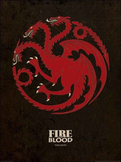 Reproducción de arte  Juego de Tronos - Game of Thrones - Targaryen