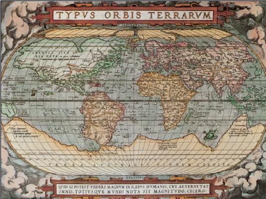 Reproducción de arte  Mapa histórico del Mundo