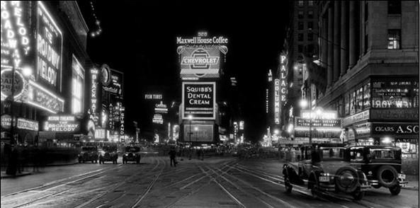 Reproducción de arte Nueva York - Times Square v noci