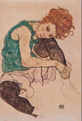 Reproducción de arte The Artist's Wife  - Seated woman with bent knee, 1917