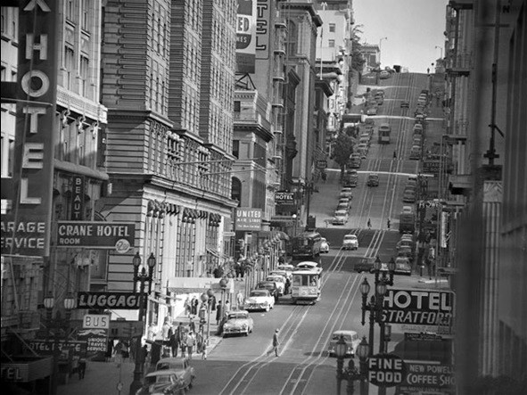 Reproducción de arte  View of Powel street in San Francisco, 1953