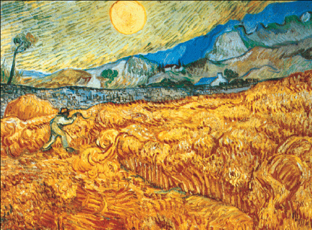 Reproducción de arte  Wheat Field with Reaper, 1889