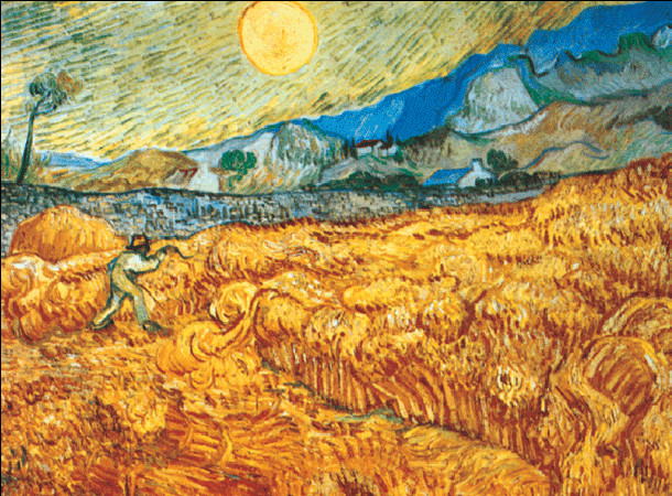 Reproducción de arte  Wheat Field with Reaper, 1889