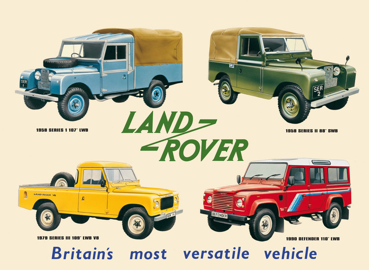 LAND ROVER COLLAGE Metalen Wandplaat