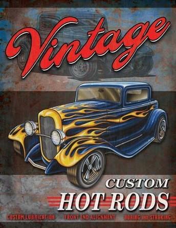 Legends - Vintage Hot Rods Metalen Wandplaat
