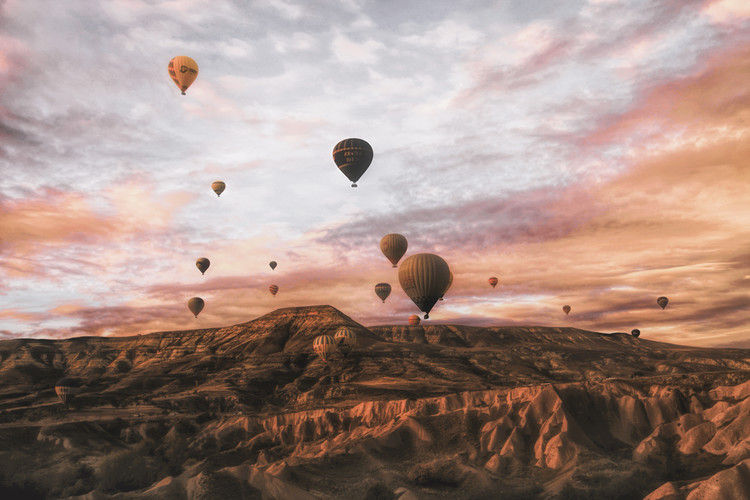 Leinwand Poster Cappodocia Hot Air Balloon