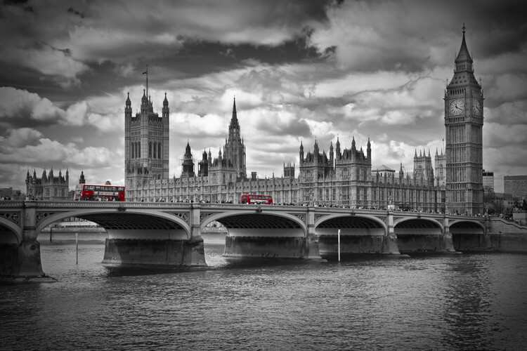 Leinwand Poster LONDON Westminster Bridge & Red Buses