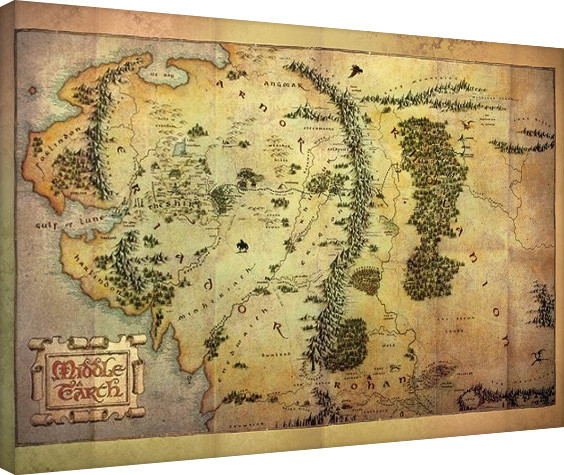 Leinwand Poster Der Hobbit - Middle Earth Map