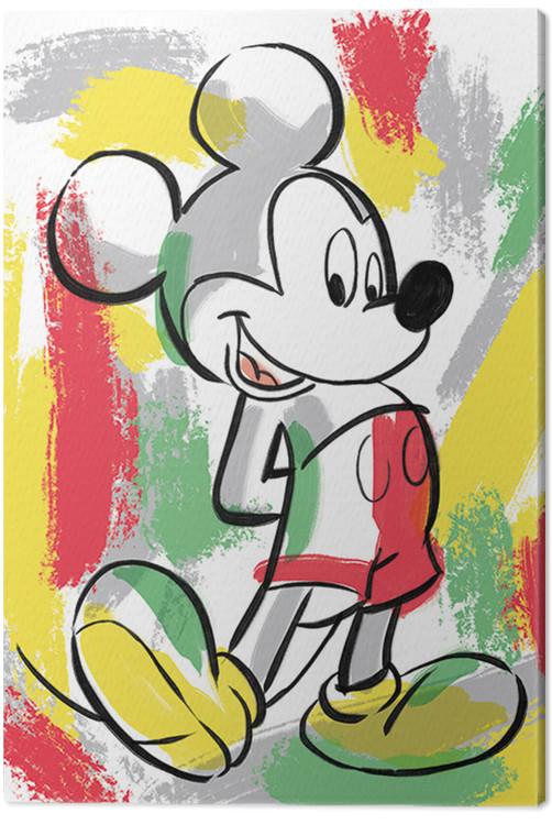Leinwand Poster Bilder Micky Maus Mickey Mouse Paint Stripes