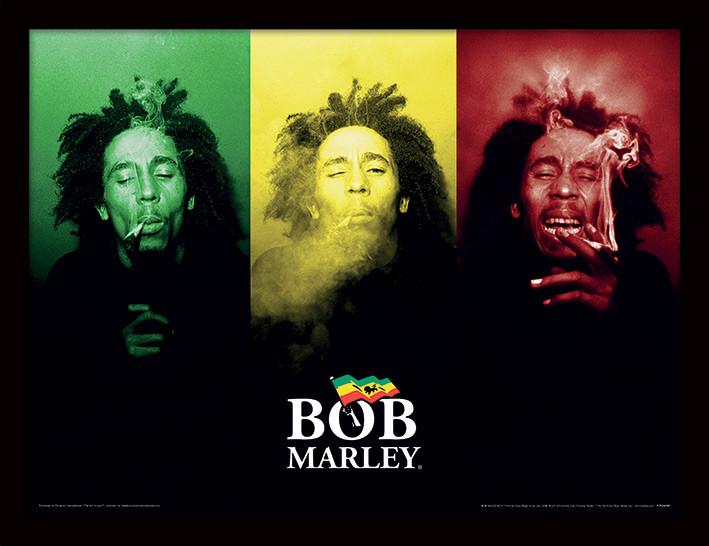 Bob Marley - Tricolour Smoke Poster Incorniciato