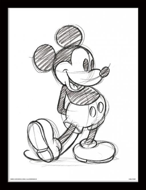 Poster incorniciato Mickey Mouse - Sketched Single