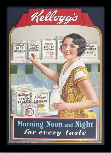 VINTAGE KELLOGGS - morning,noon & night locandine Film in Plexiglass