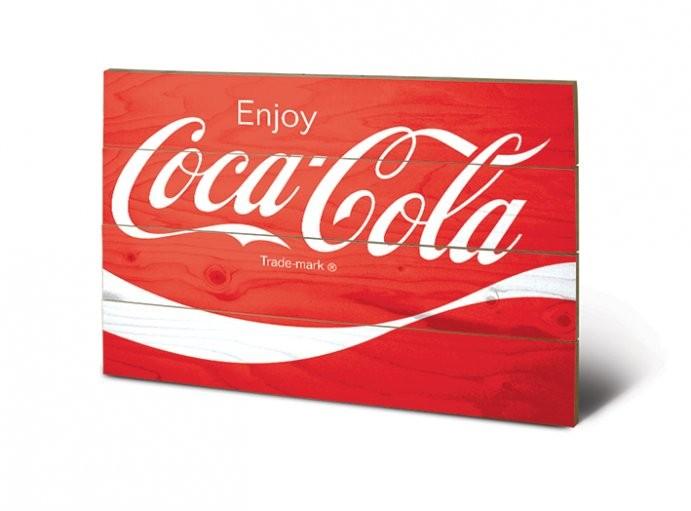 Målning på trä Coca-Cola - Logo