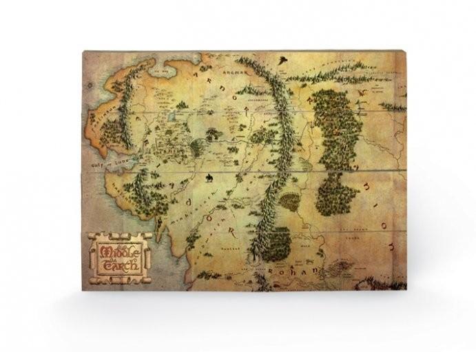 Tavla i trä  Hobbit - karta över Midgård
