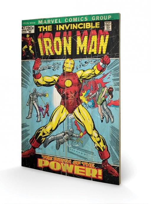 Målning på trä Iron Man - Birth Of Power