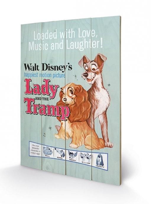 Tavla i trä  Lady och Lufsen - Love, Music and Laughter
