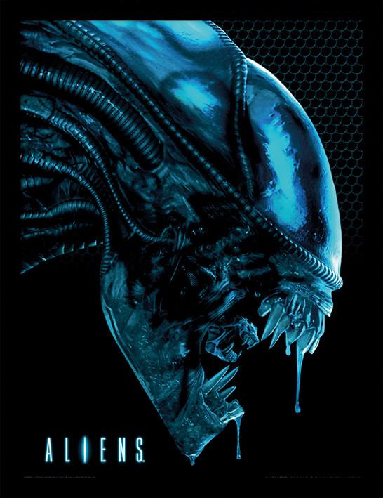 Poster enmarcado Aliens - Head Blue