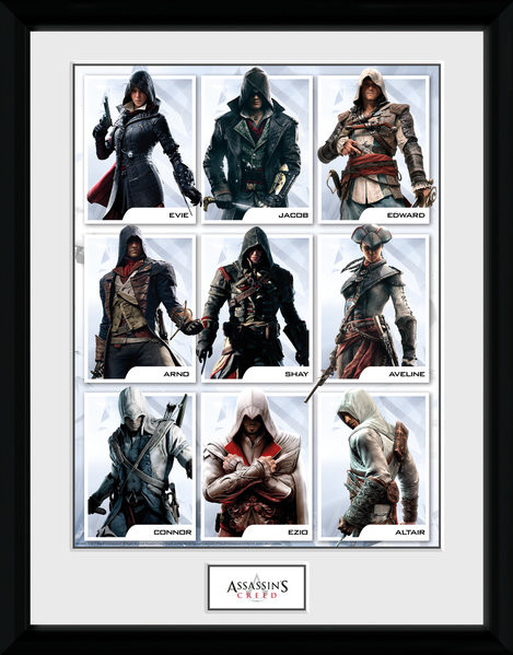 Assassins Creed - Compilation Characters Poster enmarcado