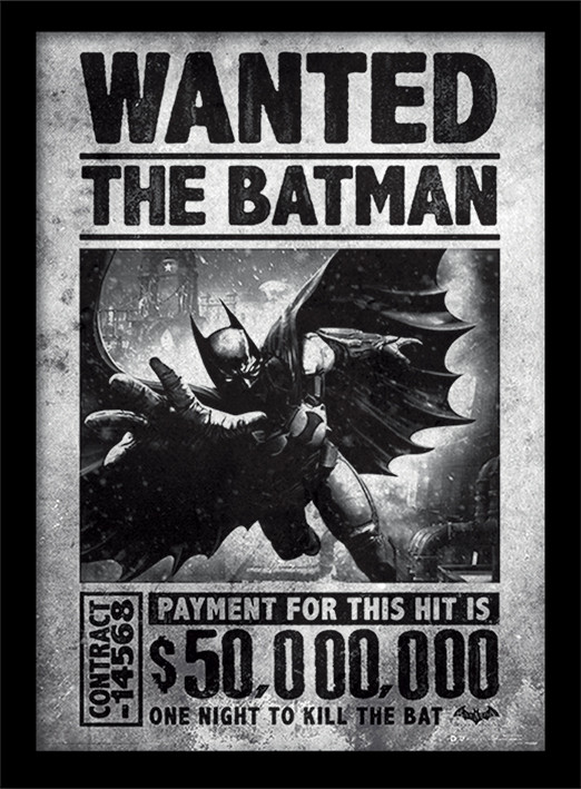 Poster enmarcado Batman: Arkham Origins - Wanted