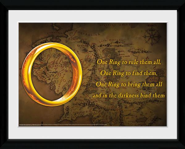 Poster enmarcado El Señor de los Anillos - One Ring