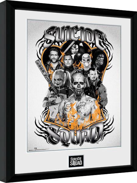 Poster enmarcado Escuadrón Suicida - Group Orange Flame