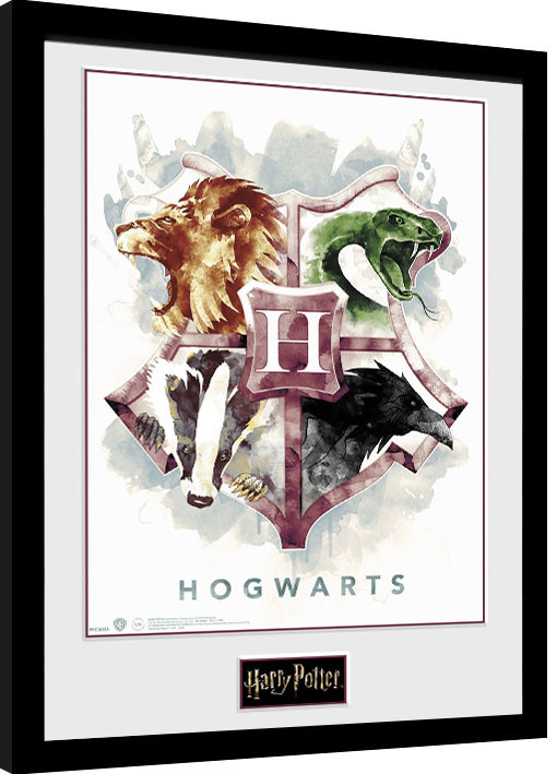 Poster enmarcado Harry Potter - Hogwarts Water Colour