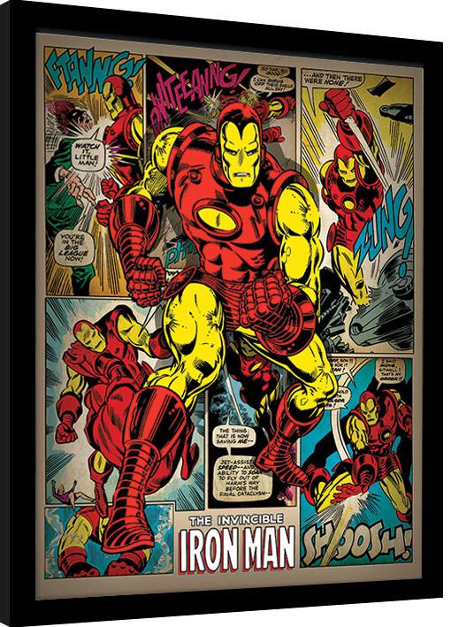 Iron Man - Retro Poster enmarcado