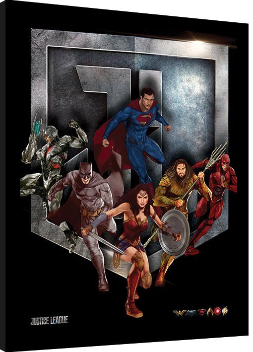 La Liga de la Justicia- Heroes Shield Poster enmarcado   Europosters.es