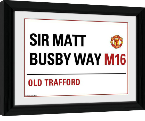 Manchester United - Street Sign Poster enmarcado