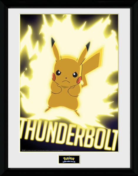 Poster enmarcado Pokemon - Thunder Bolt Pikachu