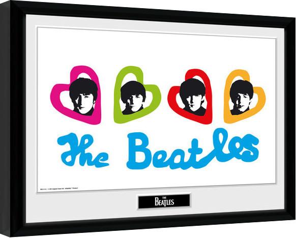 The Beatles - Love Hearts Poster enmarcado | Europosters.es
