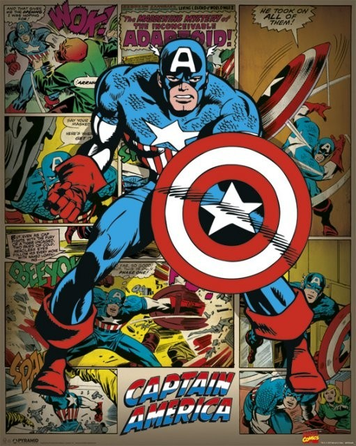 Αφίσα  MARVEL COMICS – captain america retro