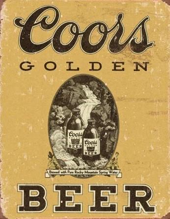 Plåtskylt Coors - Golden Beer