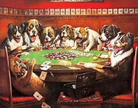 Plåtskylt DRUKEN DOGS PLAYING CARDS