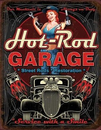 Plåtskylt Hot Rod Garage - Pistons