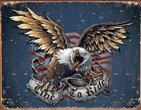 Plåtskylt LIVE TO RIDE - eagle