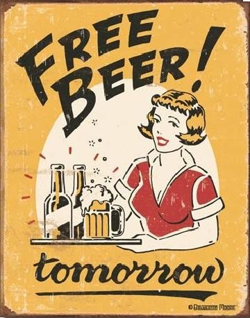 Plåtskylt MOORE - free beer