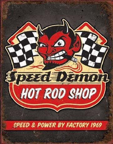 Plåtskylt SPEED DEMON HOT ROD SHOP