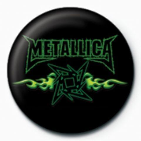 METALLICA - green flames GB Insignă