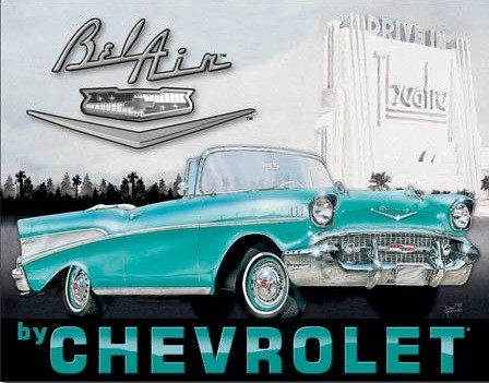 Metallschild 1957 Chevy Bel Air